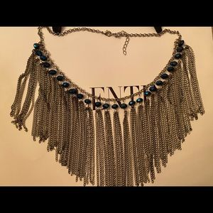 Fringe crystal silver chain statement necklace